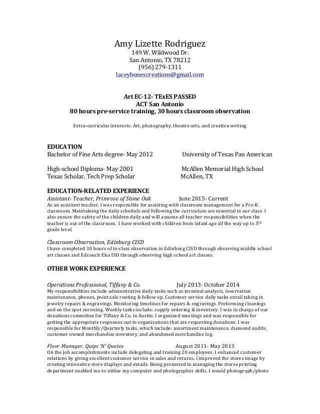 Teaching Resume July 2015