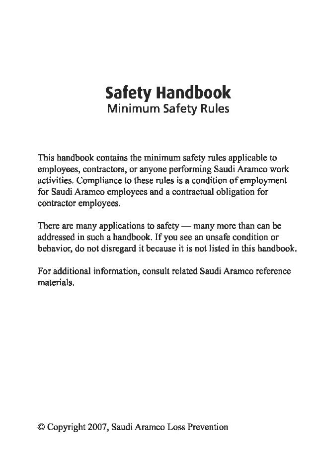 Safety handbook Saudi Aramco BY Muhammad Fahad Ansari 12IEEM14 – Sample Safety Manual Template