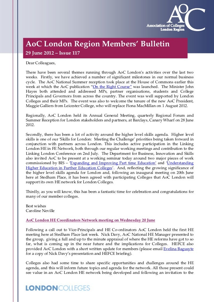 AoC London Region Members' Bulletin29 June 2012 – Issue 117Dear Colleagues,There have been several themes running through ...