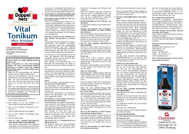 GmbH & Co. KG Schleswiger Str. 74 24941 Flensburg Gebrauchsinformation: Information für den Anwender Vital Tonikum Herz-Kr...