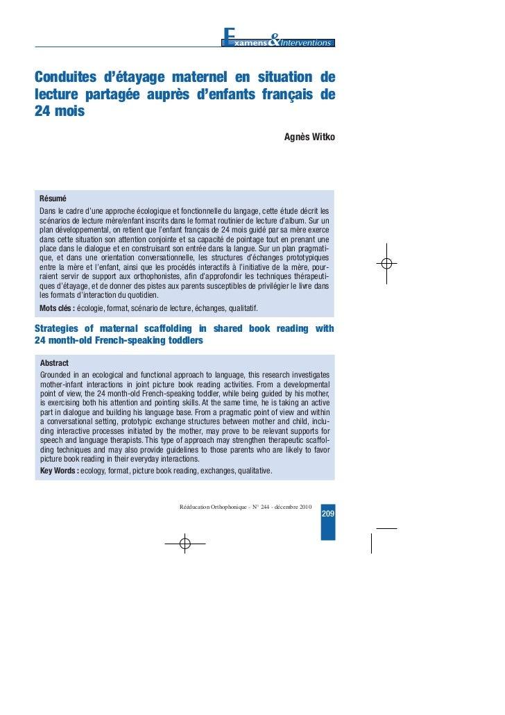 texte 244     13/12/10     10:07    Page 209        Conduites d'étayage maternel en situation de        lecture partagée a...