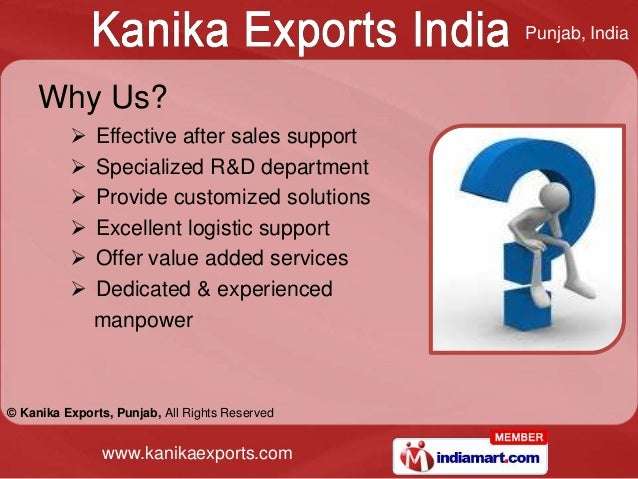 Punjab, India     Why Us?             Effective after sales support             Specialized R&D department             ...