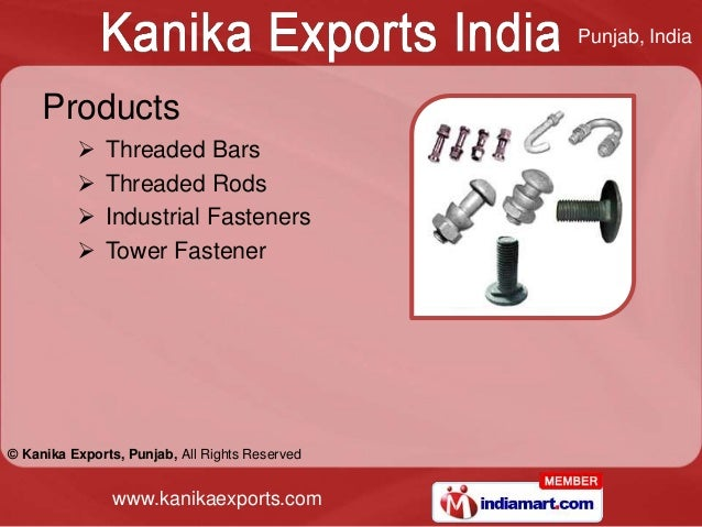 Punjab, India     Products             Threaded Bars             Threaded Rods             Industrial Fasteners        ...