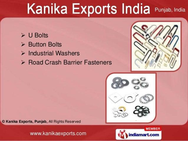 Punjab, India             U Bolts             Button Bolts             Industrial Washers             Road Crash Barri...