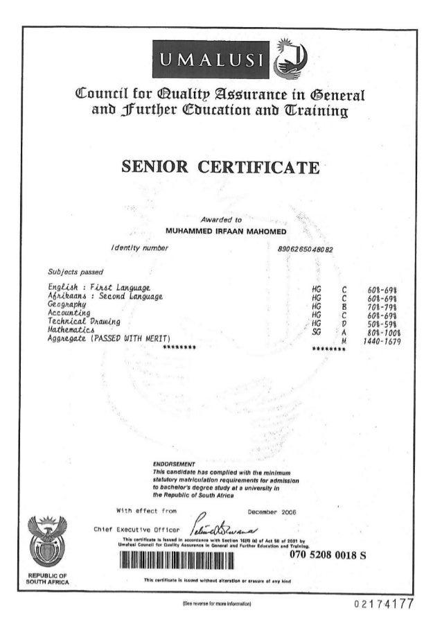Matric certificate
