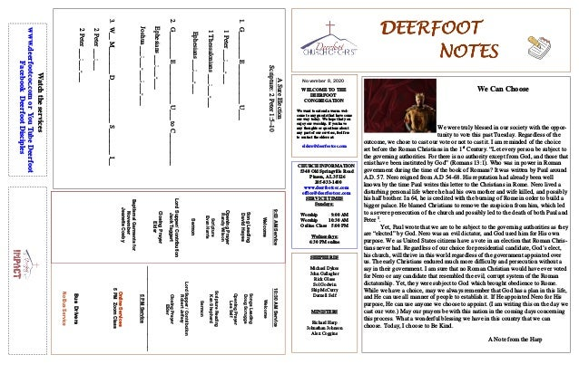 DEERFOOTDEERFOOTDEERFOOTDEERFOOT NOTESNOTESNOTESNOTES November 8, 2020 WELCOME TO THE DEERFOOT CONGREGATION We want to ext...
