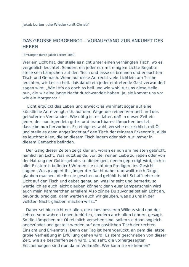 """Jakob Lorber """"die Wiederkunft Christi""""DAS GROSSE MORGENROT – VORAUFGANG ZUR ANKUNFT DESHERRN(Emfangen durch Jakob Lorber 1..."""