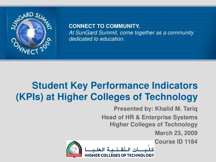 Student Key Performance Indicators (KPIs) at Higher Colleges of Technology