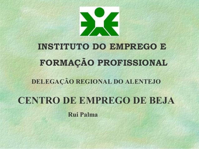 INSTITUTO DO EMPREGO E FORMAÇÃO PROFISSIONAL CENTRO DE EMPREGO DE BEJA DELEGAÇÃO REGIONAL DO ALENTEJO Rui Palma