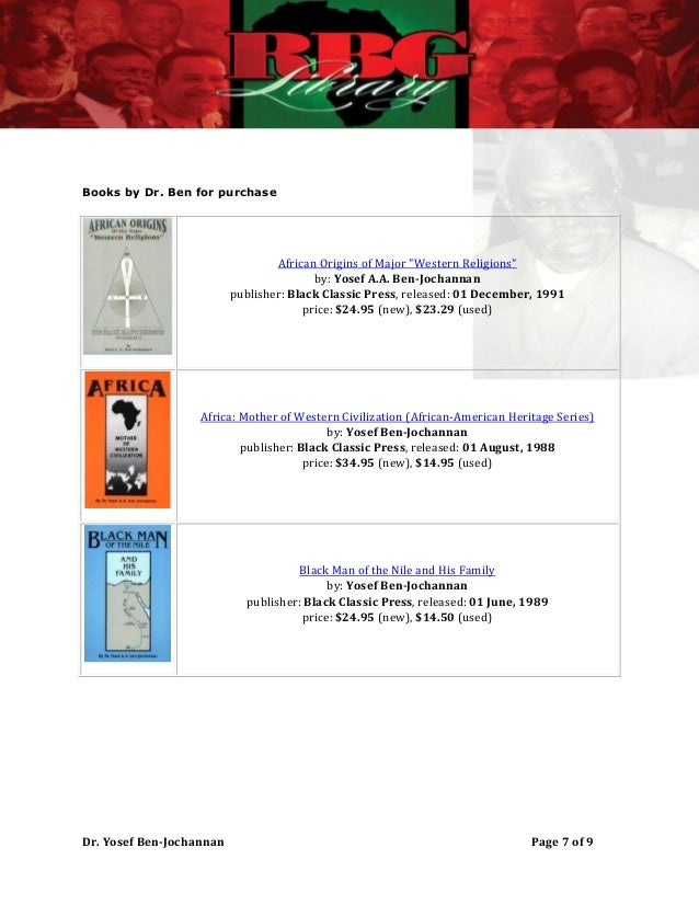 dr yosef ben jochannan books pdf