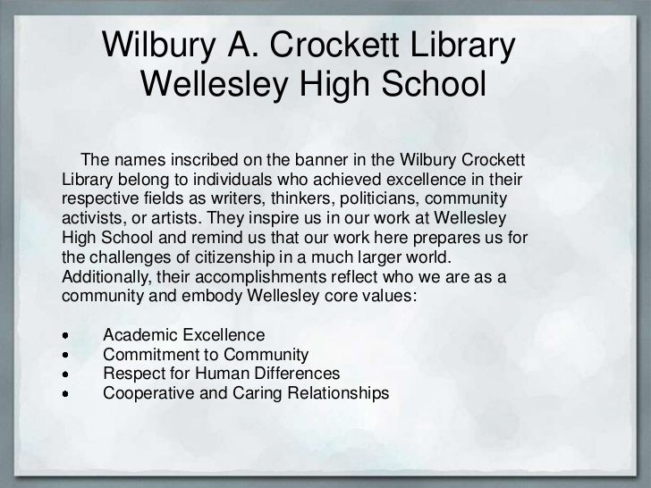 Wilbury A. Crockett Library       Wellesley High School   The names inscribed on the banner in the Wilbury CrockettLibrary...