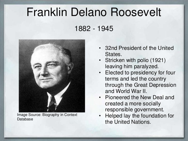 franklin roosevelt brought the new deal into the life of americans Franklin delano roosevelt 32nd president of the united states in office the new deal gave people jobs building roads, bridges, dams this brought the united states fully into world war ii roosevelt also signed an order allowing japanese americans to be sent to internment camps against.