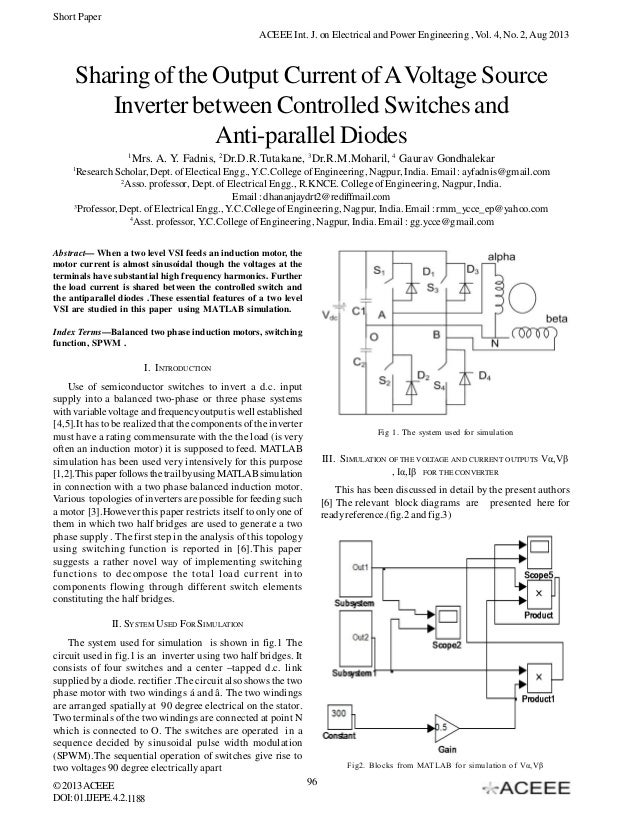 Sharing of the output current of a voltage source inverter between co current of a voltage source inverter between controlled switches and anti parallel diodes short paper aceee int j on electrical and power engineering publicscrutiny Gallery