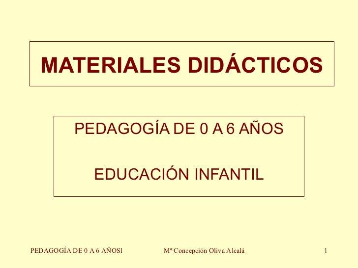 MATERIALES DIDÁCTICOS PEDAGOGÍA DE 0 A 6 AÑOS EDUCACIÓN INFANTIL PEDAGOGÍA DE 0 A 6 AÑOSl Mª Concepción Oliva Alcalá