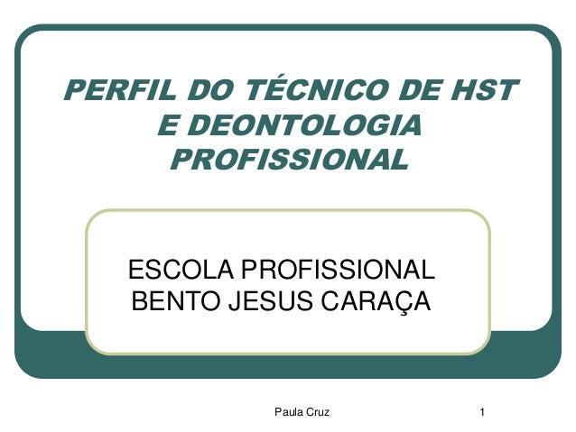 Paula Cruz 1 PERFIL DO TÉCNICO DE HST E DEONTOLOGIA PROFISSIONAL ESCOLA PROFISSIONAL BENTO JESUS CARAÇA