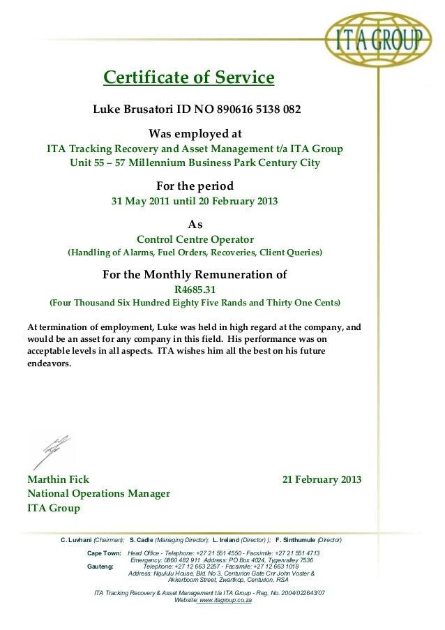 certificate service slideshare ita upcoming fac