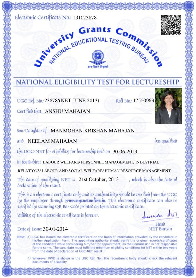 UGC NET Cleared - Certificate