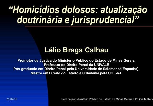 """21/07/15 Realização: Ministério Público do Estado de Minas Gerais e Polícia Militar d1 """"Homicídios dolosos: atualização do..."""