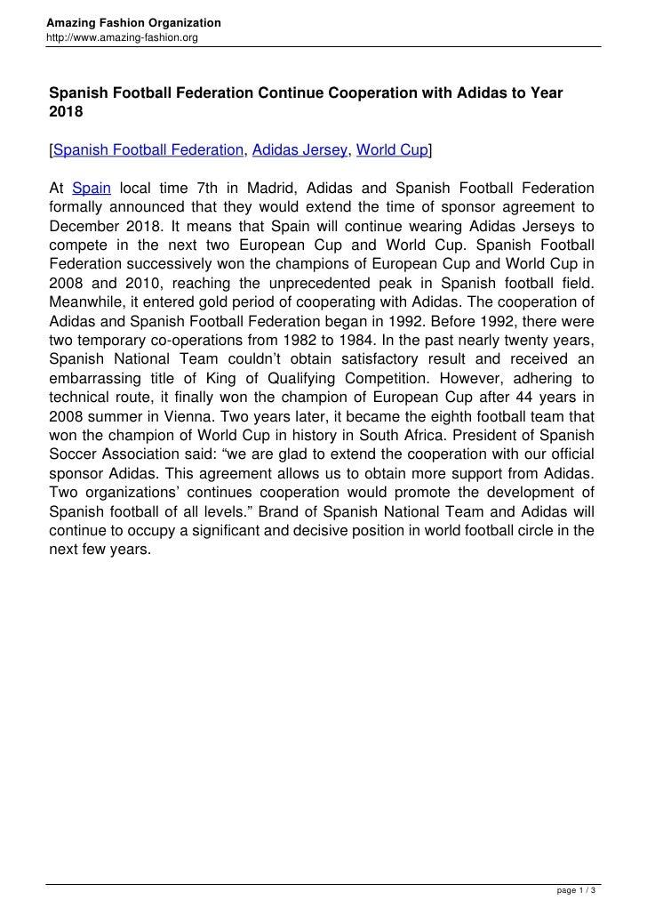 Amazing Fashion Organizationhttp://www.amazing-fashion.orgSpanish Football Federation Continue Cooperation with Adidas to ...