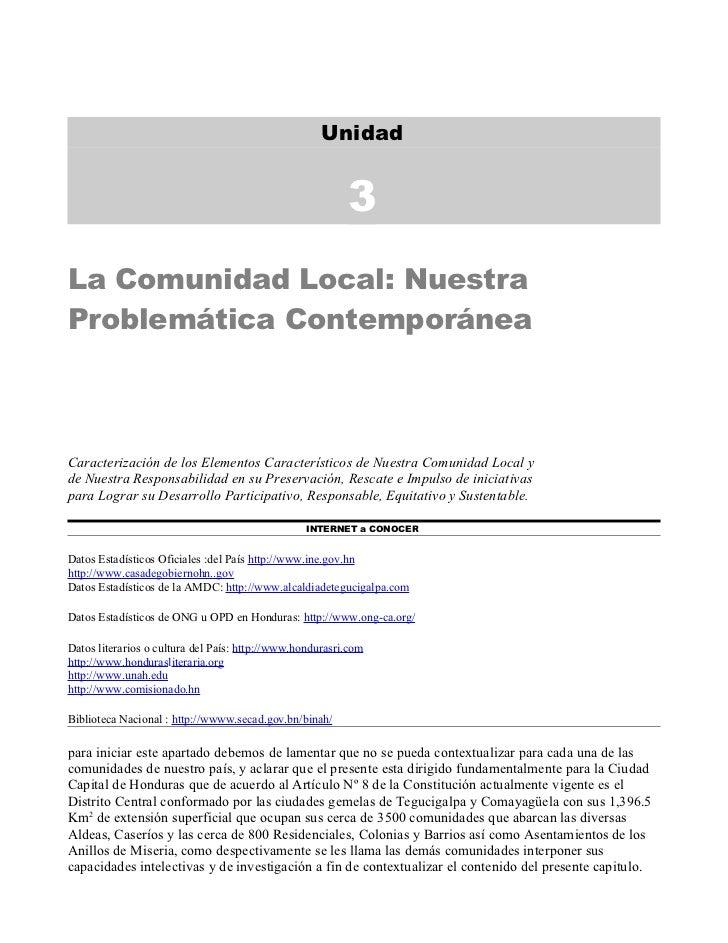 Unidad                                                          3La Comunidad Local: NuestraProblemática ContemporáneaCara...