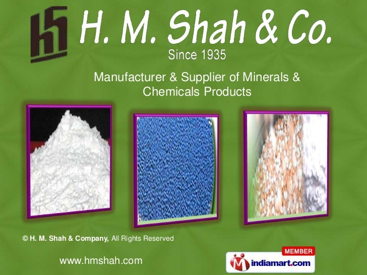 Manufacturer & Supplier of Minerals & <br />Chemicals Products<br />