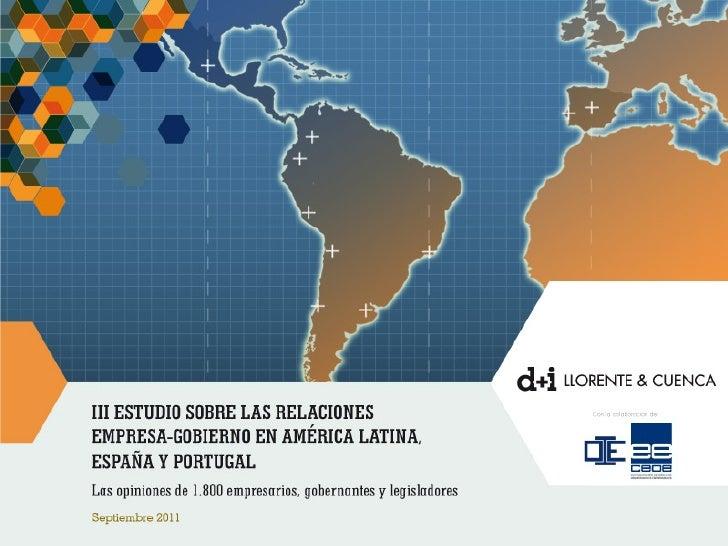  Tercer estudio sobre las relaciones existentes entre  los gobiernos y las empresas en España, Portugal y  América Latina...