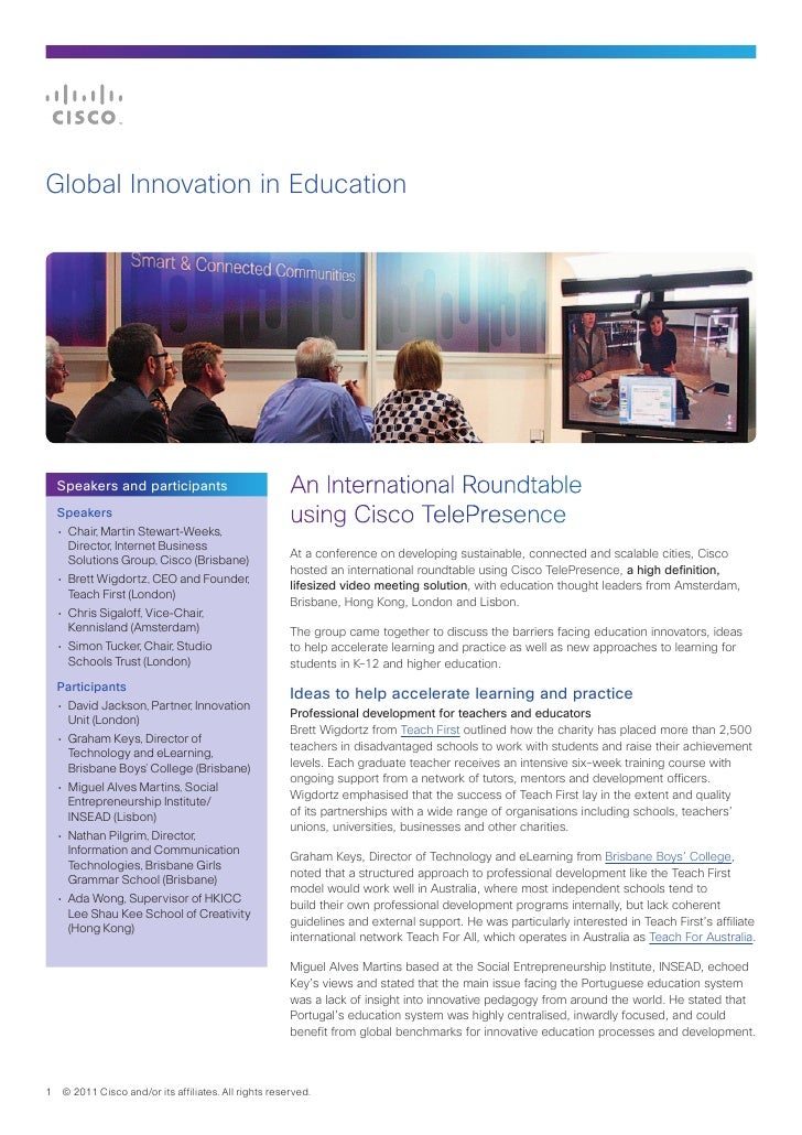 Global Innovation in Education  Speakers and participants                           An International Roundtable  Speakers ...