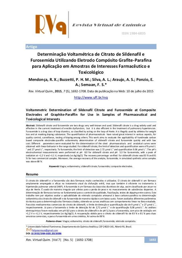 Rev. Virtual Quim. |Vol 7| |No. 5| |1692-1708| 1692 Artigo Determinação Voltamétrica de Citrato de Sildenafil e Furosemida...