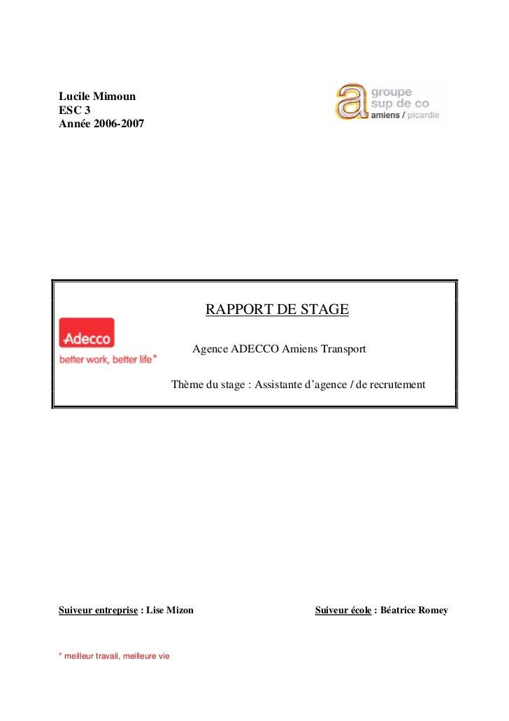 Lucile MimounESC 3Année 2006-2007                                           RAPPORT DE STAGE                              ...