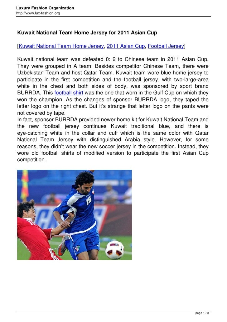 Luxury Fashion Organizationhttp://www.lux-fashion.orgKuwait National Team Home Jersey for 2011 Asian Cup[Kuwait National T...