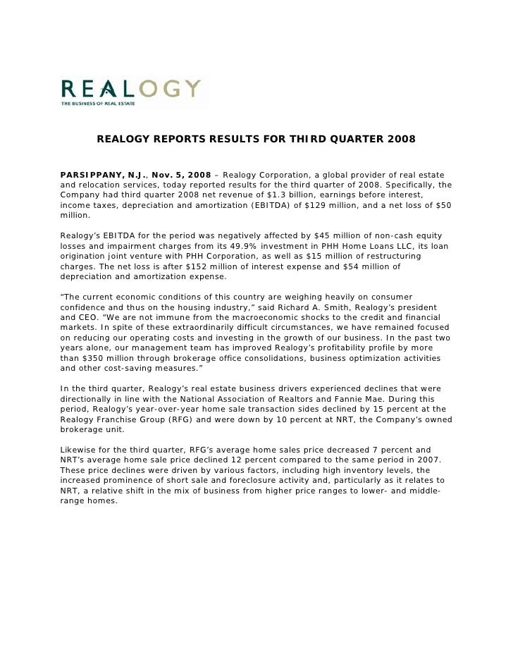 REALOGY REPORTS RESULTS FOR THIRD QUARTER 2008   PARSIPPANY, N.J., Nov. 5, 2008 – Realogy Corporation, a global provider o...