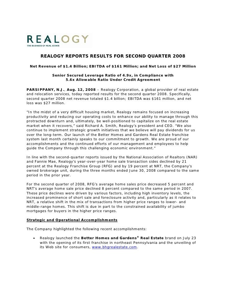 REALOGY REPORTS RESULTS FOR SECOND QUARTER 2008   Net Revenue of $1.4 Billion; EBITDA of $161 Million; and Net Loss of $27...