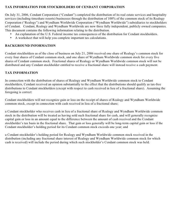 "TAX INFORMATION FOR STOCKHOLDERS OF CENDANT CORPORATION  On July 31, 2006, Cendant Corporation (""Cendant"") completed the d..."