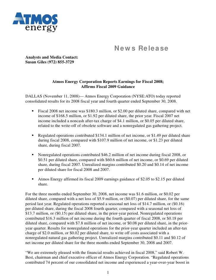 News Release Analysts and Media Contact: Susan Giles (972) 855-3729                    Atmos Energy Corporation Reports Ea...