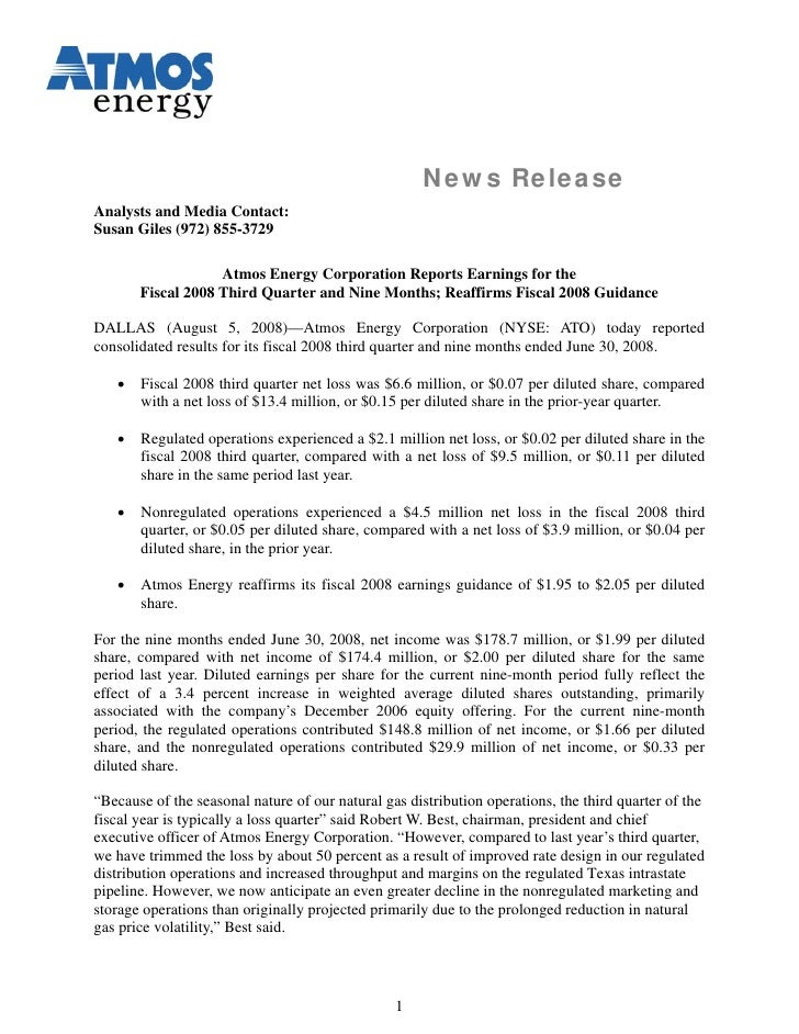 News Release Analysts and Media Contact: Susan Giles (972) 855-3729                     Atmos Energy Corporation Reports E...