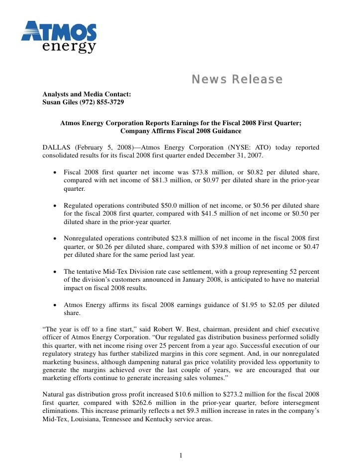 News Release Analysts and Media Contact: Susan Giles (972) 855-3729         Atmos Energy Corporation Reports Earnings for ...