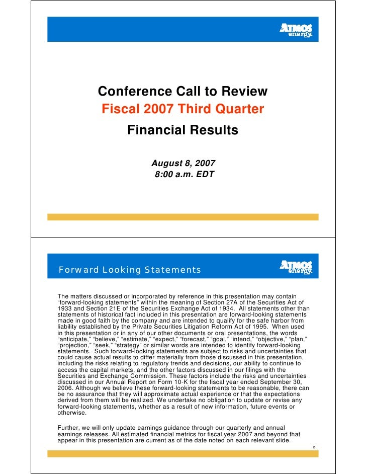 Conference Call to Review                Fiscal 2007 Third Quarter                           Financial Results            ...