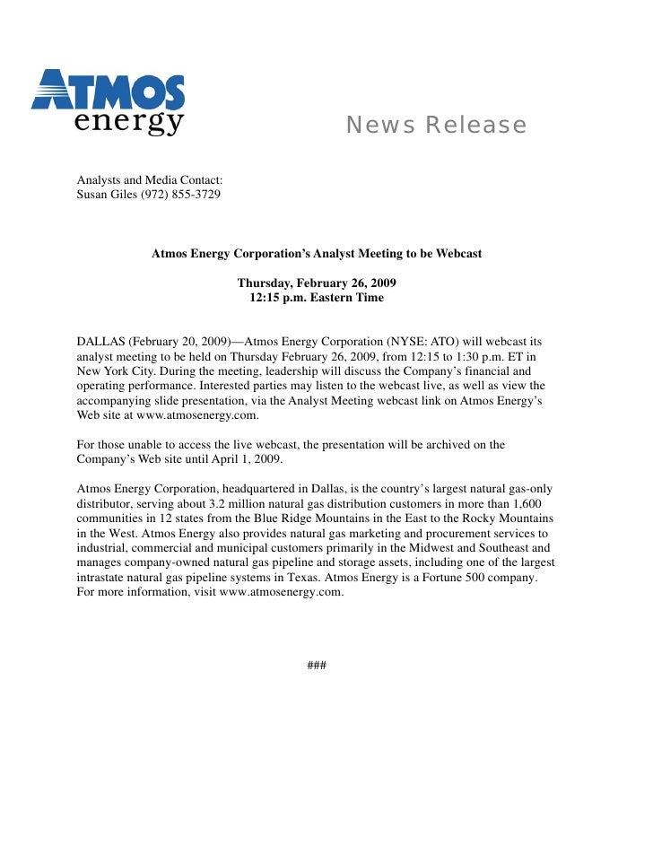 News Release  Analysts and Media Contact: Susan Giles (972) 855-3729                  Atmos Energy Corporation's Analyst M...