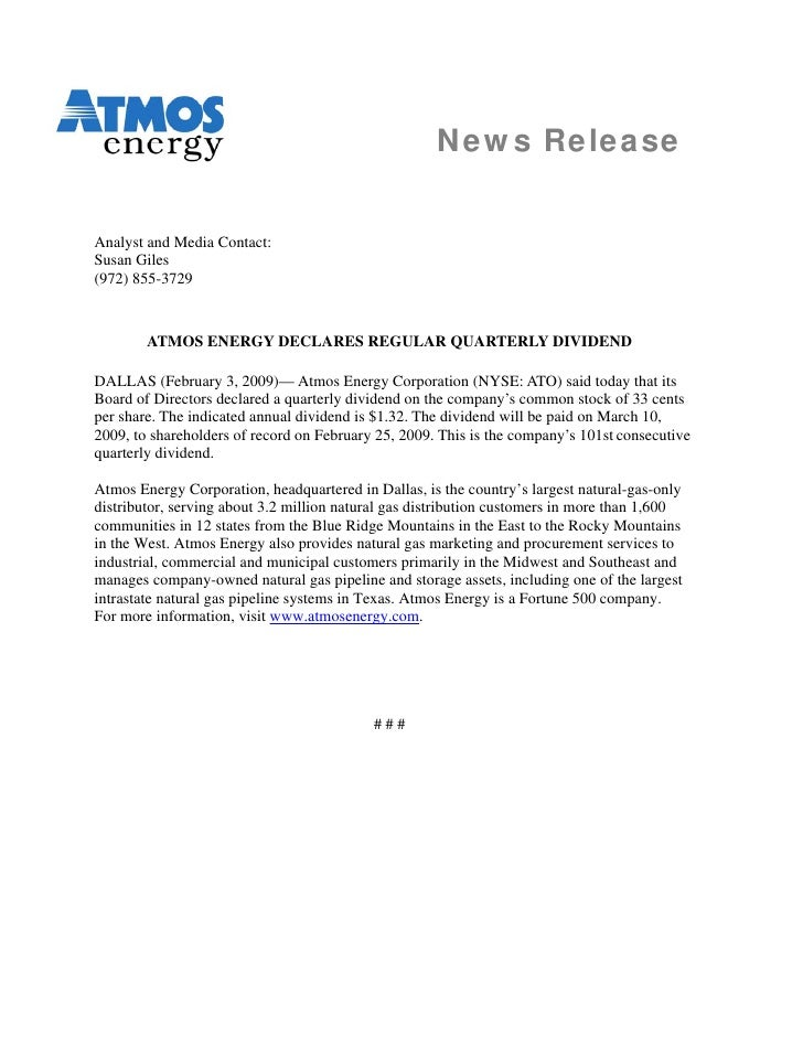News Release   Analyst and Media Contact: Susan Giles (972) 855-3729            ATMOS ENERGY DECLARES REGULAR QUARTERLY DI...