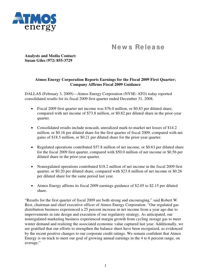 News Release Analysts and Media Contact: Susan Giles (972) 855-3729           Atmos Energy Corporation Reports Earnings fo...