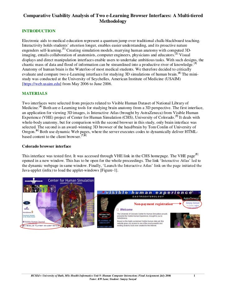 Comparative Usability Analysis of Two e-Learning Browser Interfaces: A Multi-tiered                                   Meth...