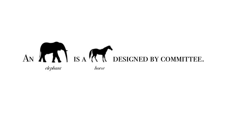 An elephant is a horse designed by committee.     elephant    horse