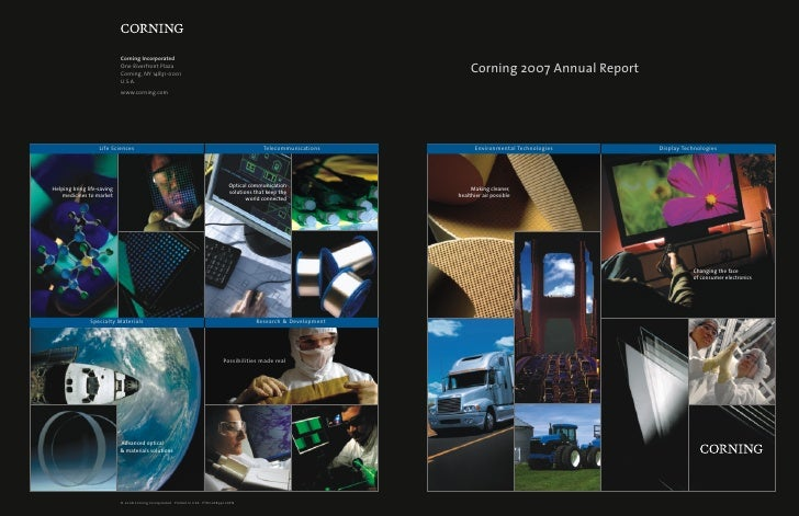 Corning 2007 Annual Report            Environmental Technologies   Display Technologies          Making cleaner, healthier...
