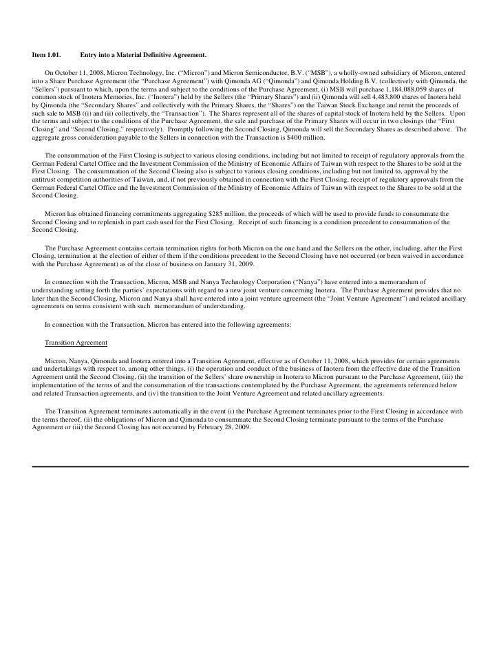 Micron Technollogy 10088kdefinitiveagreement