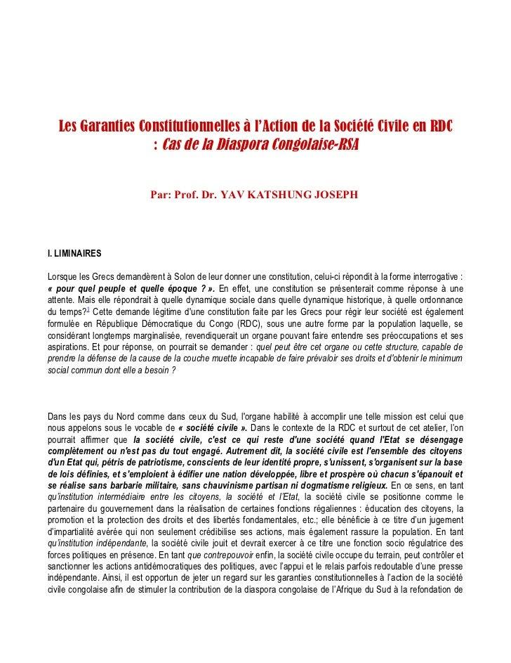 Les Garanties Constitutionnelles à l'Action de la Société Civile en RDC                   : Cas de la Diaspora Congolaise-...