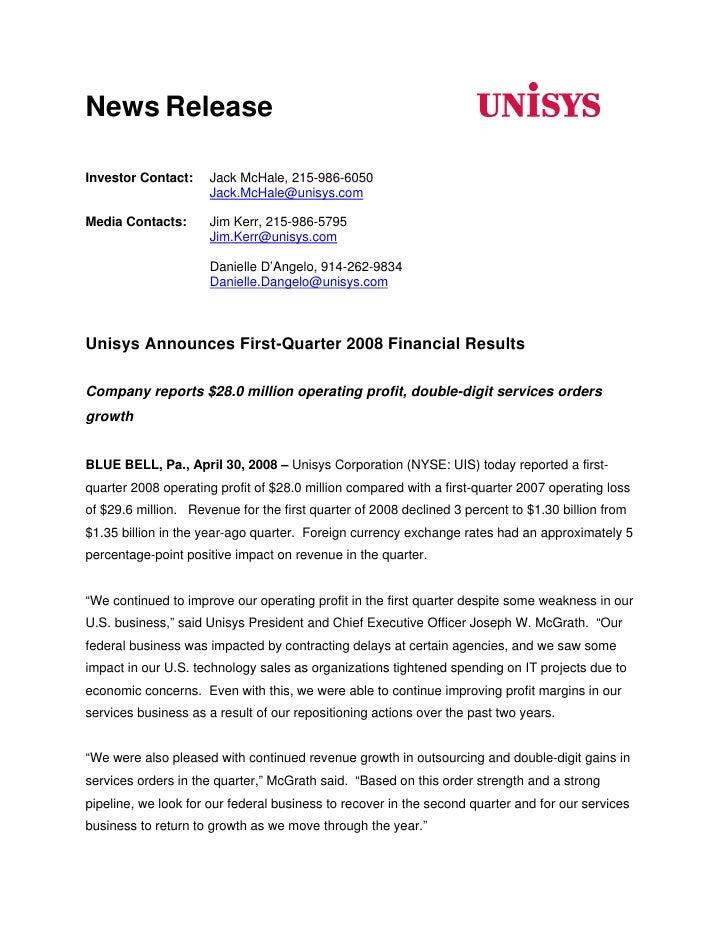 News Release                        Jack McHale, 215-986-6050 Investor Contact:                       Jack.McHale@unisys.c...