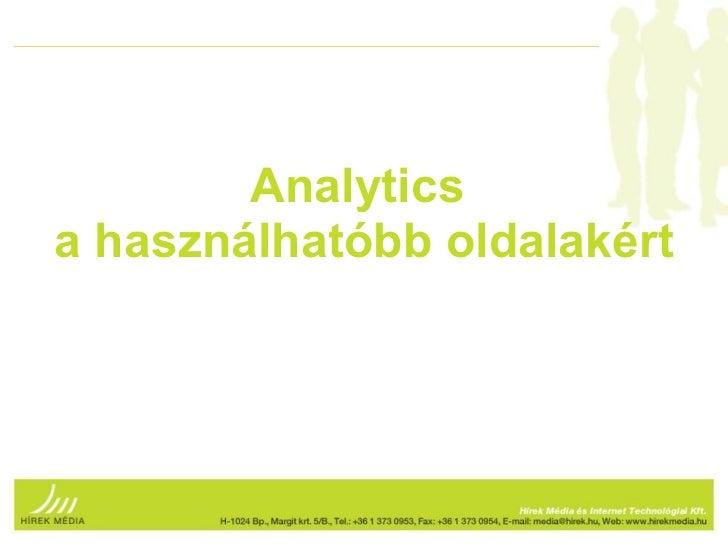 Analyticsa használhatóbb oldalakért