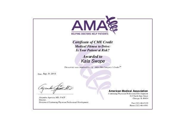 AMA Certificate