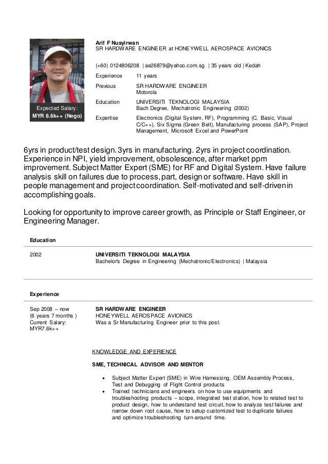 Expected Salary: MYR 8.6k++ (Nego) Arif F Nusyirwan SR HARDWARE ENGINEER at  ...