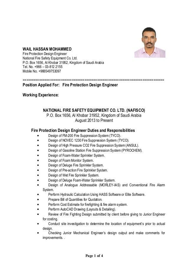 Fire fighting design engineer resume